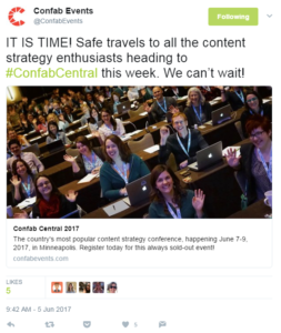 Confab event hashtag