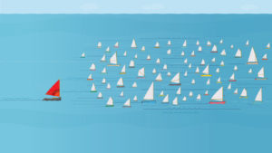 Sailboat outpacing others in the water - how to create best social media snapshot