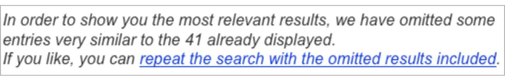Google supplemental index example