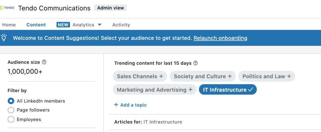 LinkedIn Content Suggestions screenshot