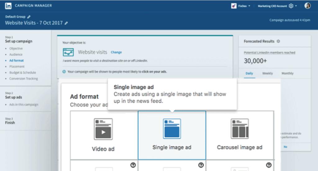 LinkedIn Campaign Manager screenshot