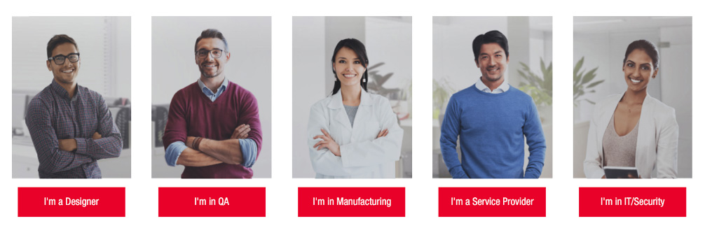 Keysight website homepage showing different buyer personas