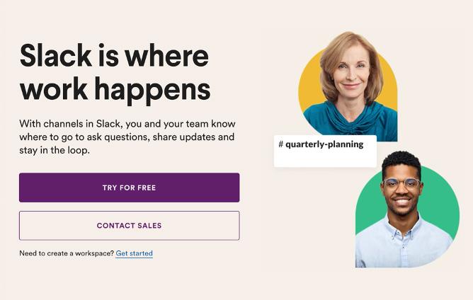 Screenshot of Slack webpage headline