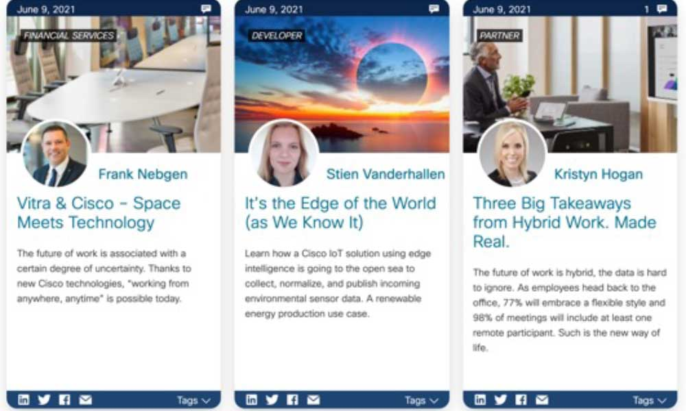 Screenshot of 3 Cisco blog posts