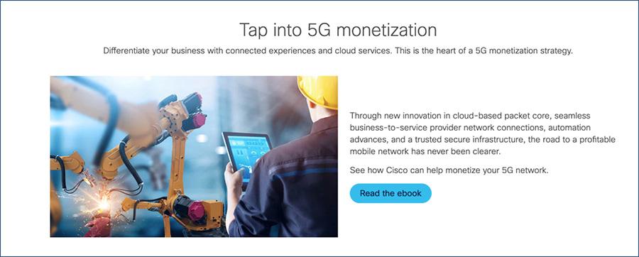 Cisco 5G monetization web page component