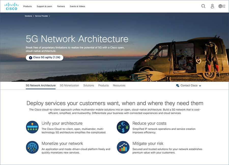 Cisco 5G networking web page