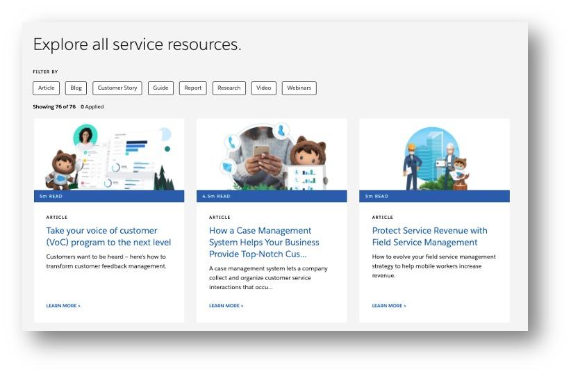 Salesforce explore all resources screenshot