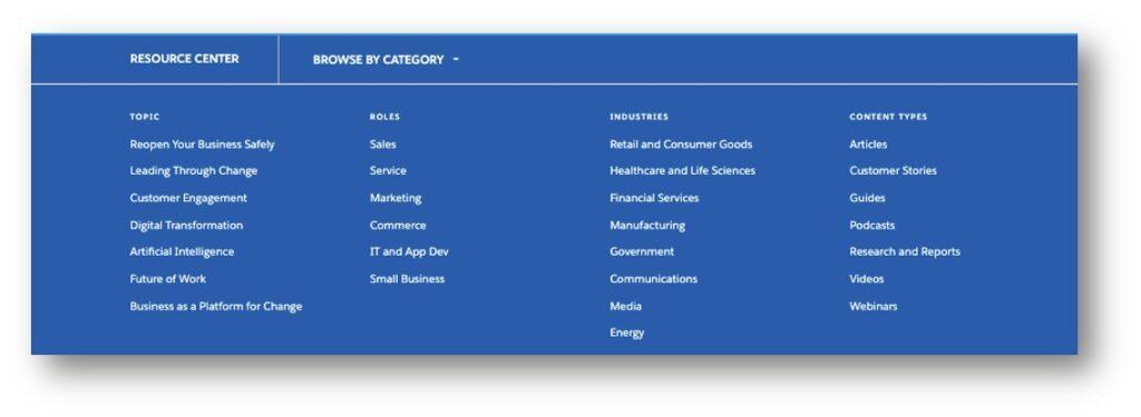 Salesforce resource center navigation drop down