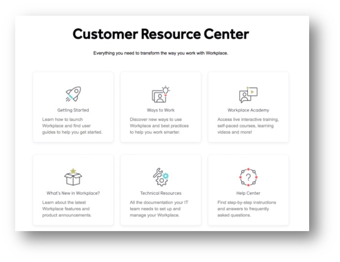 Workplace by Facebook resource hub main page
