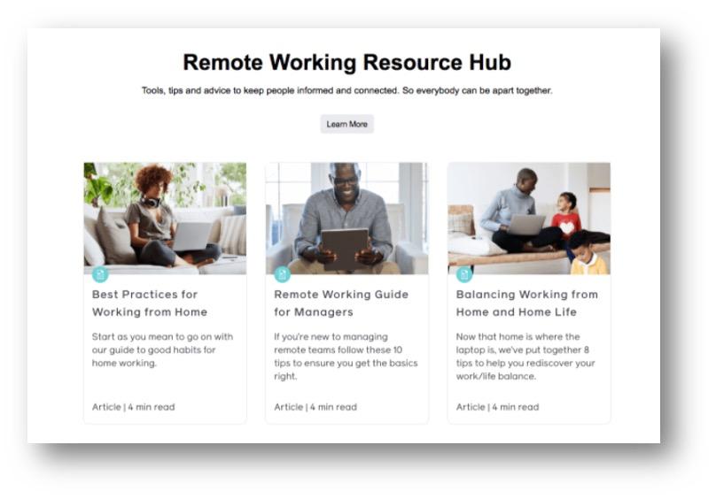 Workplace by Facebook resource hub screenshot